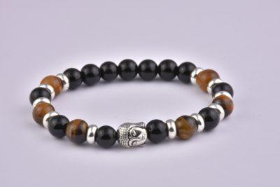 Natural Stone Agate Tiger Eye Mix Buddha Bracelet