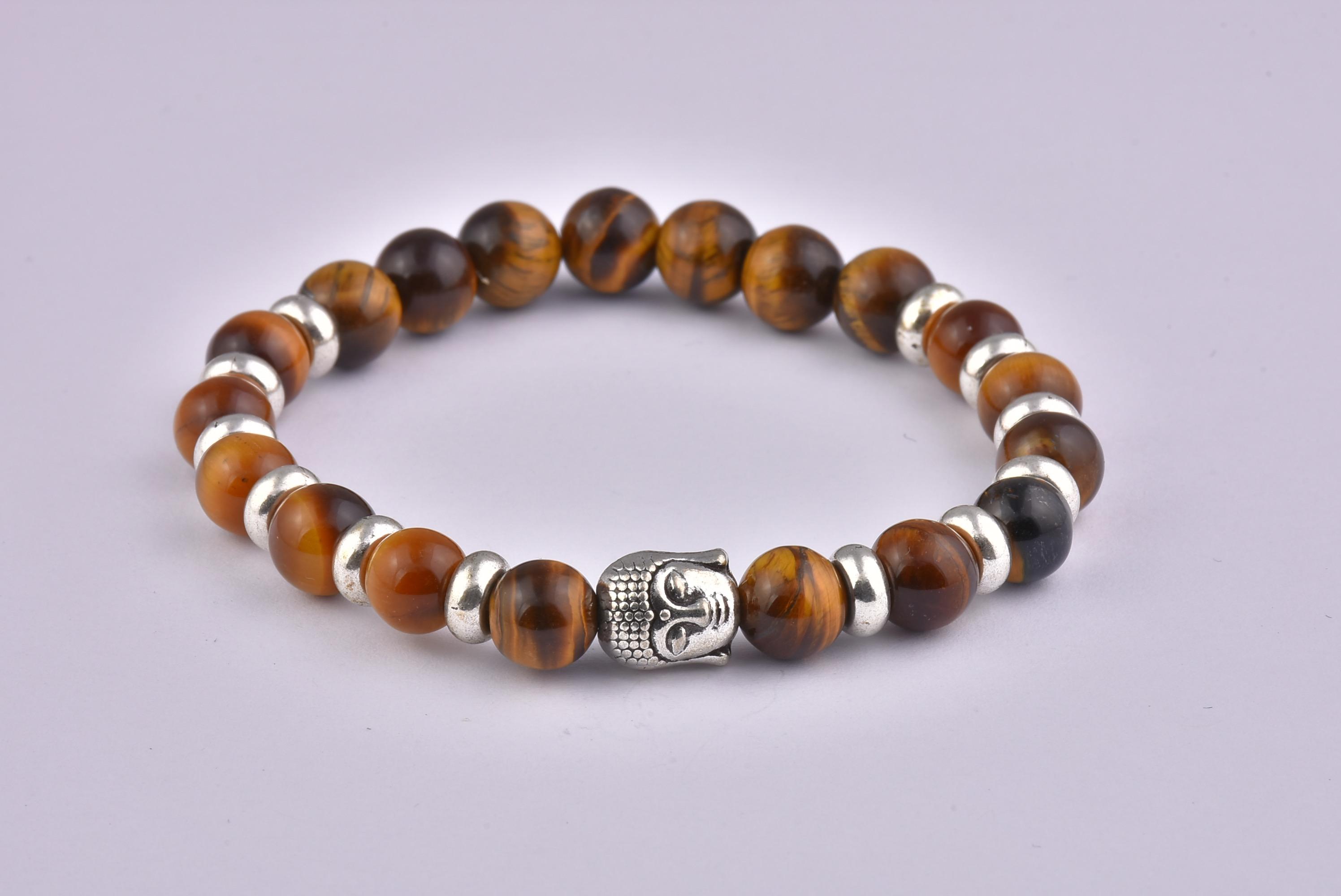 Natural Stone Yellow Tiger Eye Buddha Bracelet