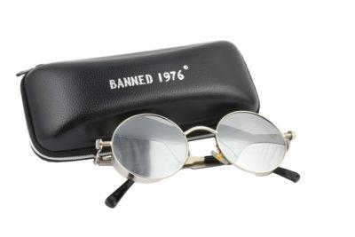 Steampunk Silver Metal Mirror Polarised Sunglasses