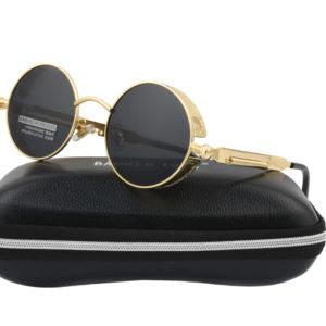 Steampunk Gold Metal Black Polarised Sunglasses