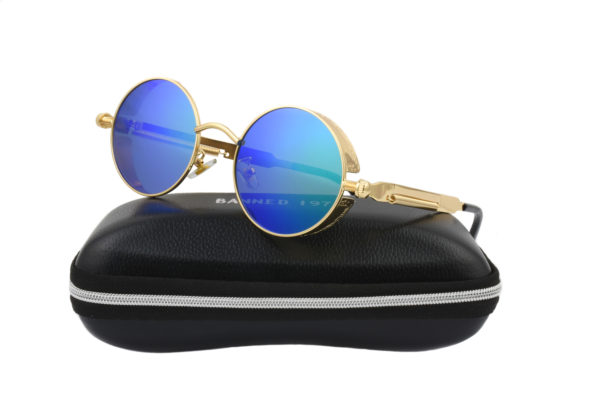 Steampunk Gold Metal Green Polarised Sunglasses