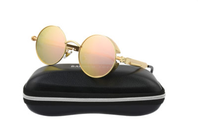 Steampunk Gold Metal Pink Polarised Sunglasses