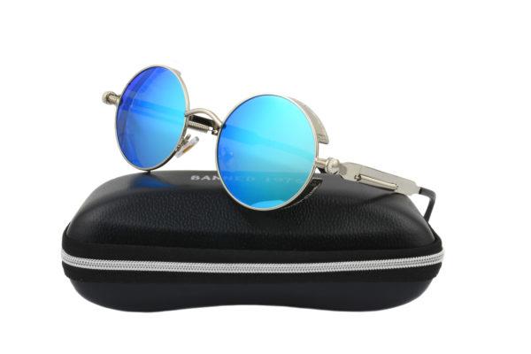 Steampunk Silver Metal Blue Polarised Sunglasses