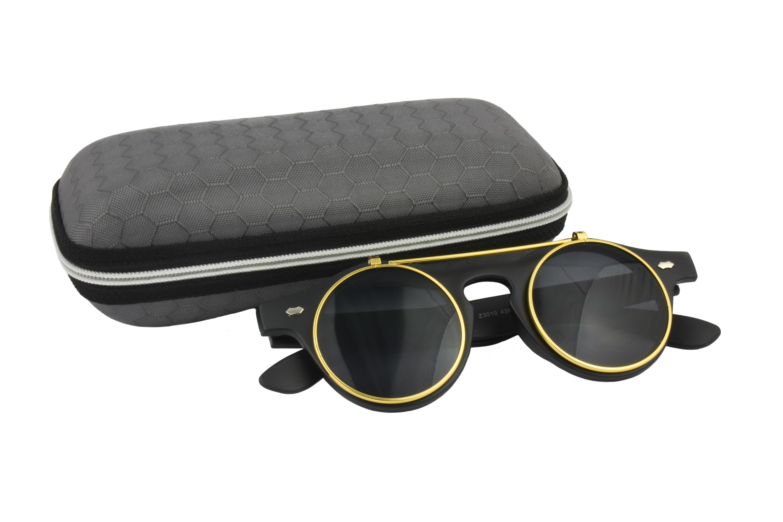 Classic Vintage Black Polarised Steampunk Sunglasses
