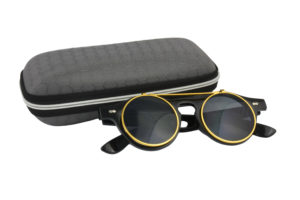 Classic Vintage Matte Black Polarised Steampunk Sunglasses