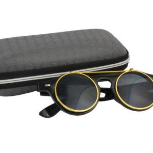 Classic Vintage Matte Black Polarised Steampunk Sunglasses