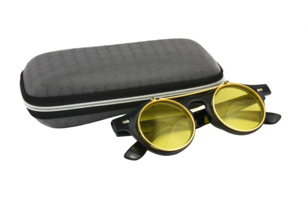 Classic Vintage Yellow Polarised Steampunk Sunglasses
