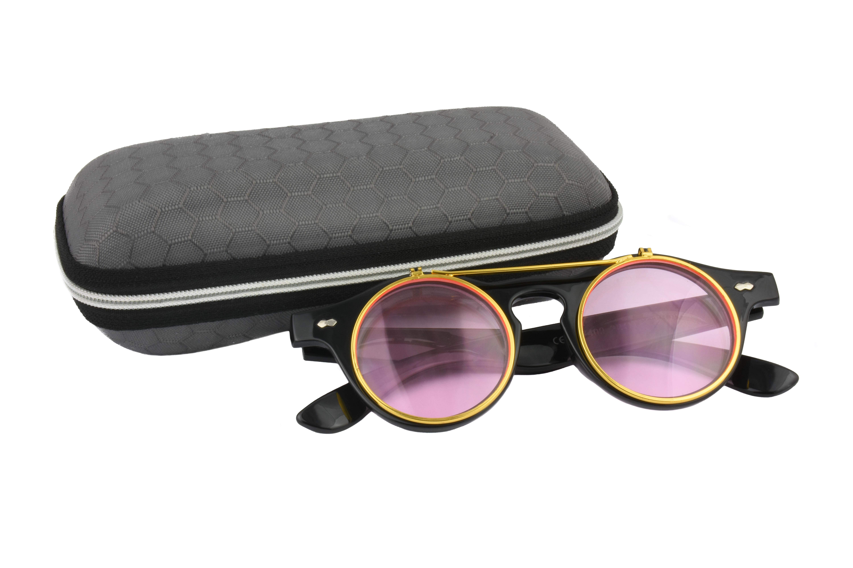 Classic Vintage Pink Polarised Steampunk Sunglasses