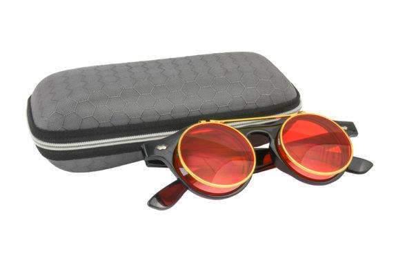 Classic Vintage Red Polarised Steampunk Sunglasses