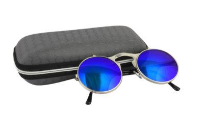 Round Silver Green Steampunk Sunglasses