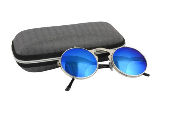 Round Silver Blue Steampunk Sunglasses