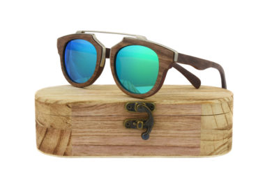 Real Skateboard Wood Steampunk Polarised Green Sunglasses