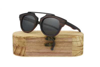 Real Skateboard Wood Steampunk Polarised Black Sunglasses