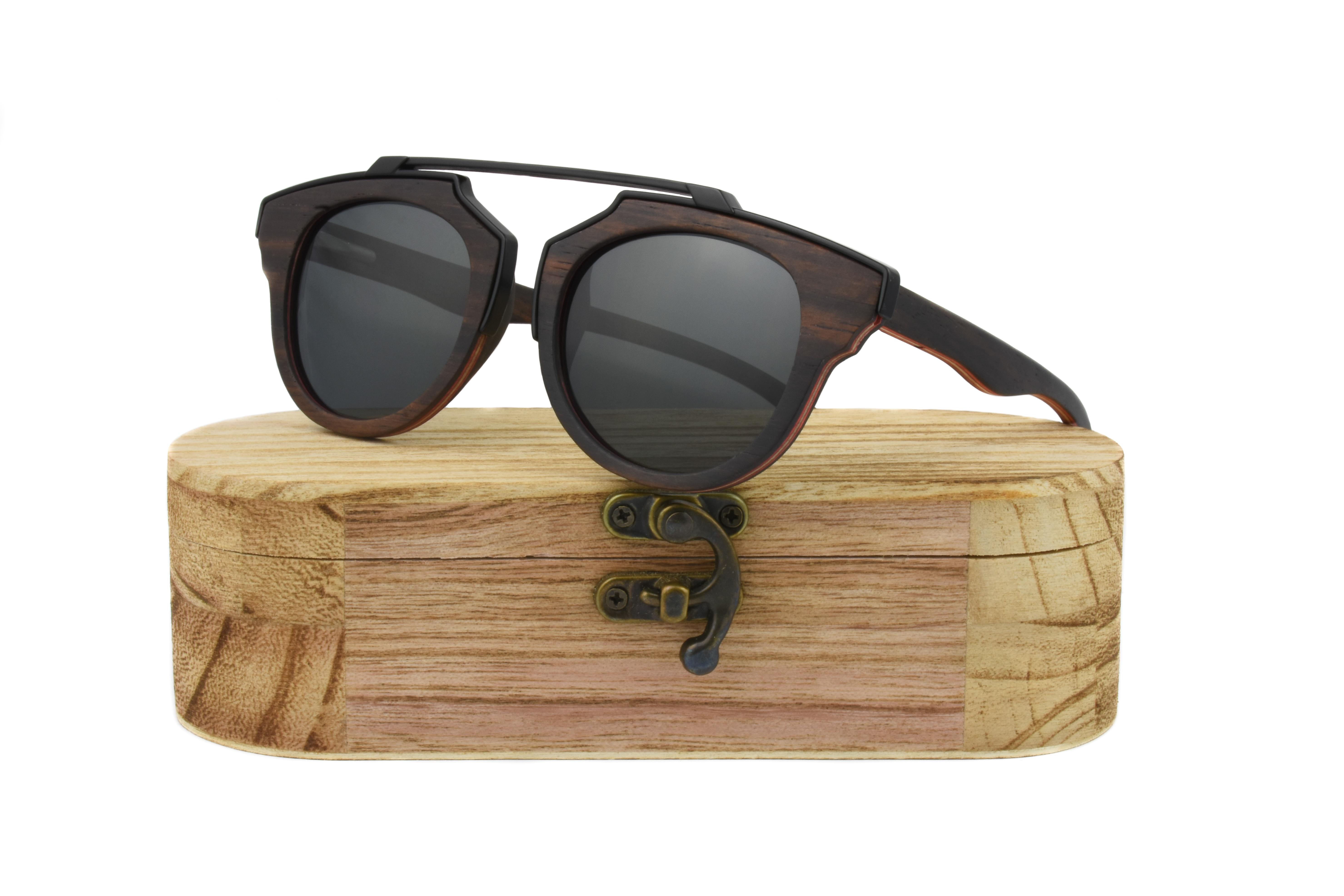 Real Skateboard Wood Steampunk Polarised Black Sunglasses