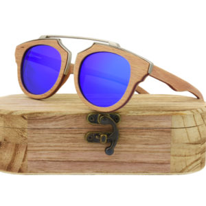 Real Skateboard Wood Steampunk Polarised Blue Sunglasses