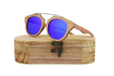 Real Skateboard Wood Steampunk Polarised Blue Sunglasses