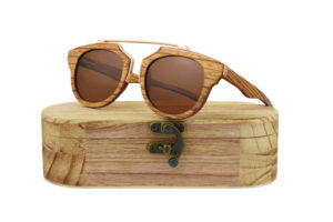 Real Skateboard Wood Steampunk Polarised Brown Sunglasses