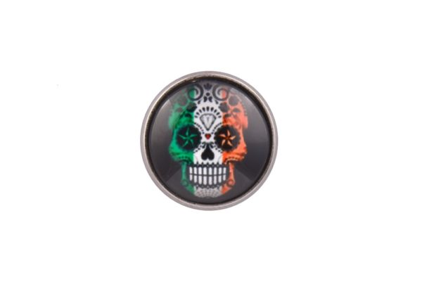 Ireland Flag Sugar Skull lapel Pin Badge