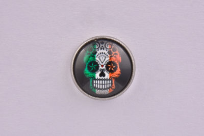Ireland Flag Sugar Skull lapel Pin Badge