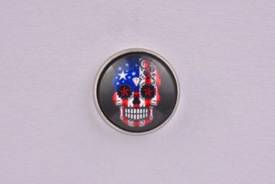 USA Flag Sugar Skull lapel Pin Badge