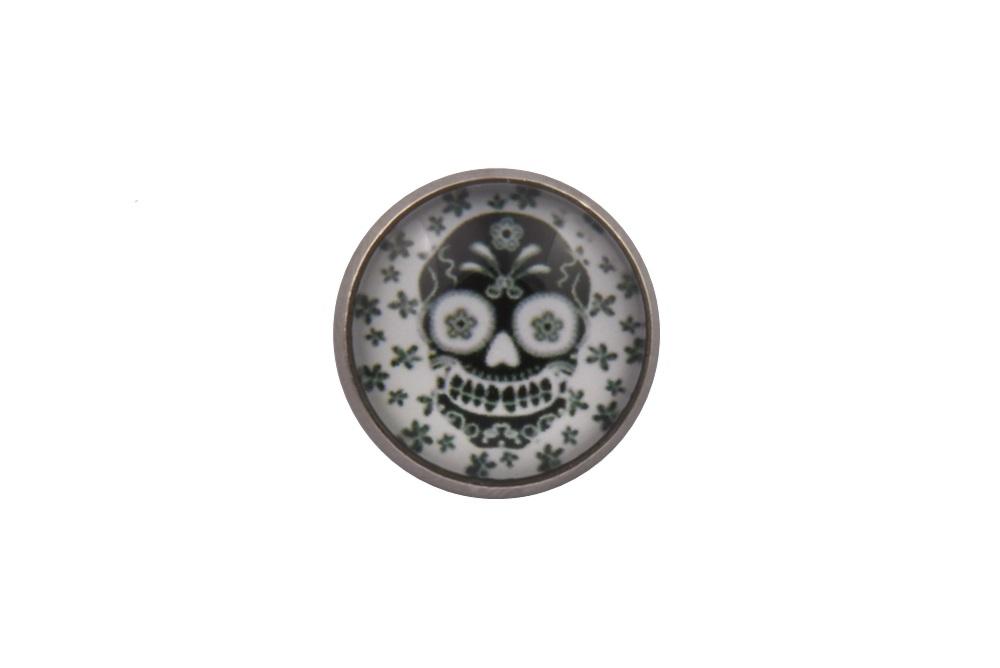 Black Flowers Skull Lapel Pin Badge