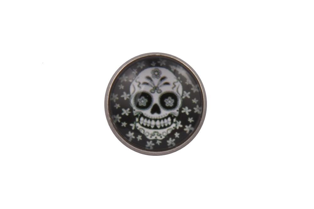 White Flowers Skull Lapel Pin Badge