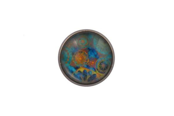 Blue Mandala Lapel Pin Badge
