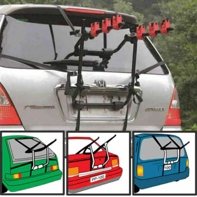 Universal 3 Bike Bicycle Hatchback Car Carrier Rack Stand Rear Mounted