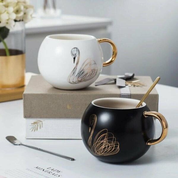 Bone China Swan Mug